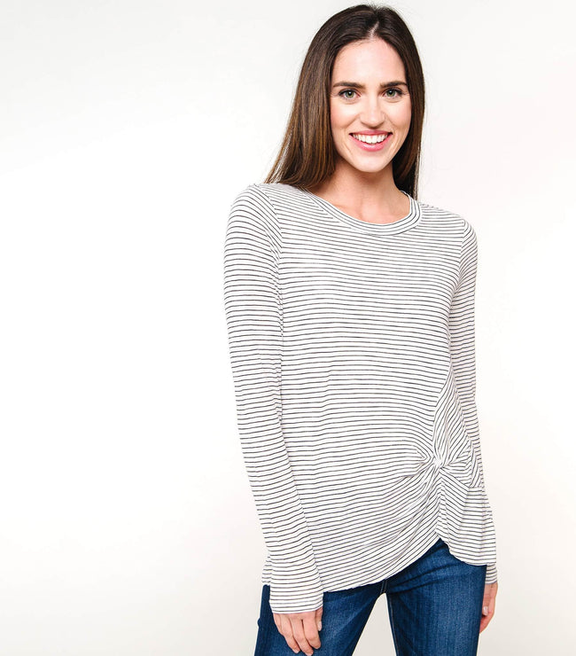 Long Sleeve Knot Front Striped Tee