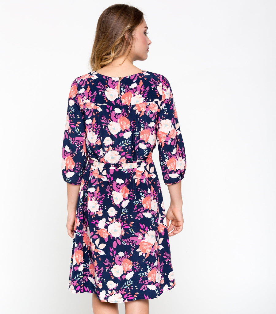 Sweetly Sure Dress - Navy Bouquet
