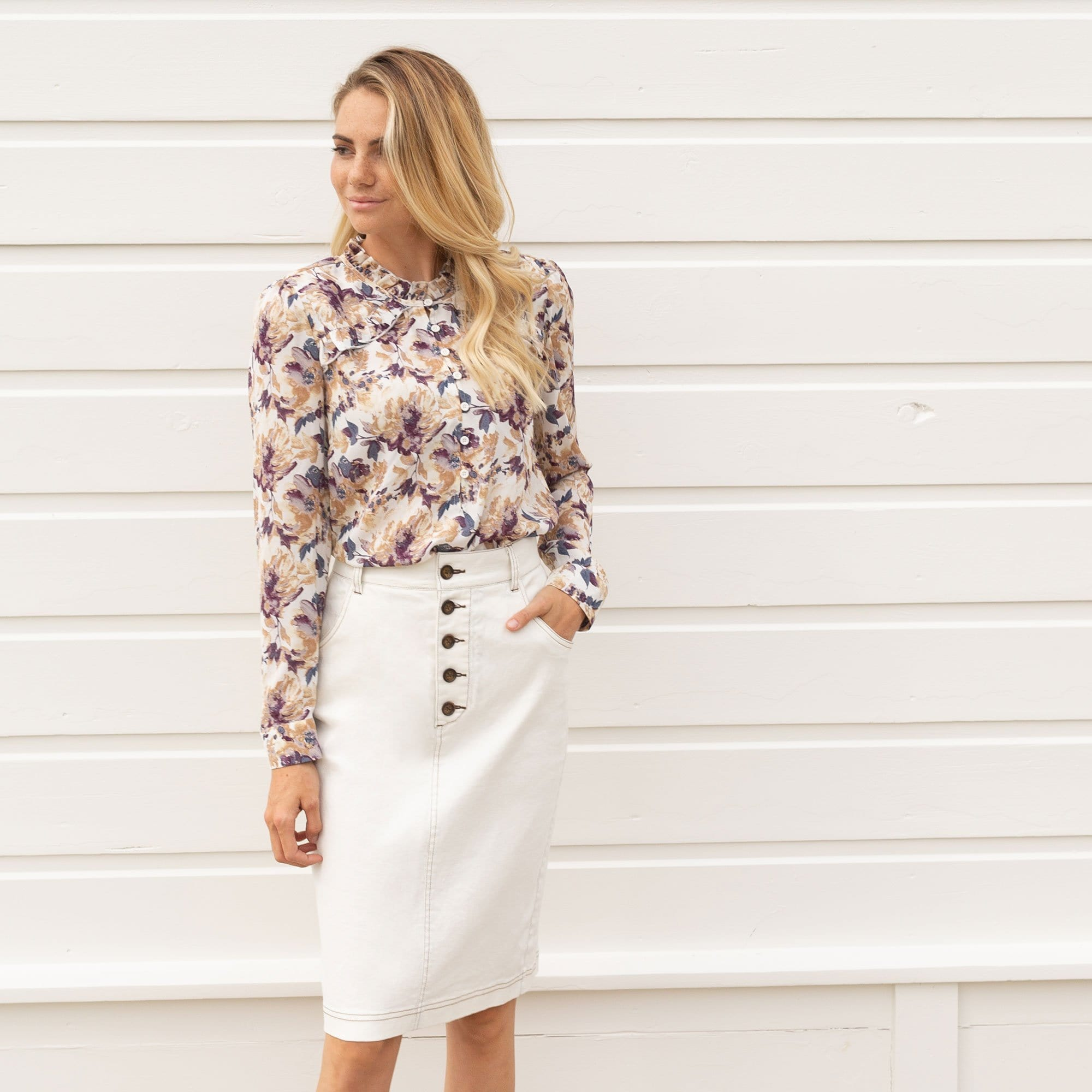 Button Fly Pencil Skirt