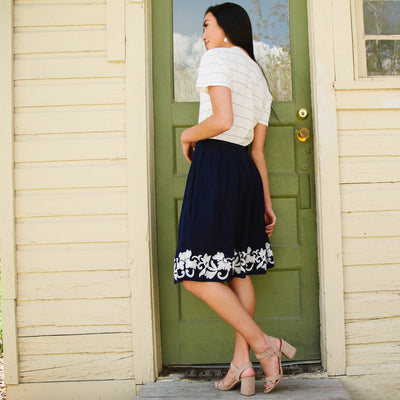 Embroidered Hem Skirt