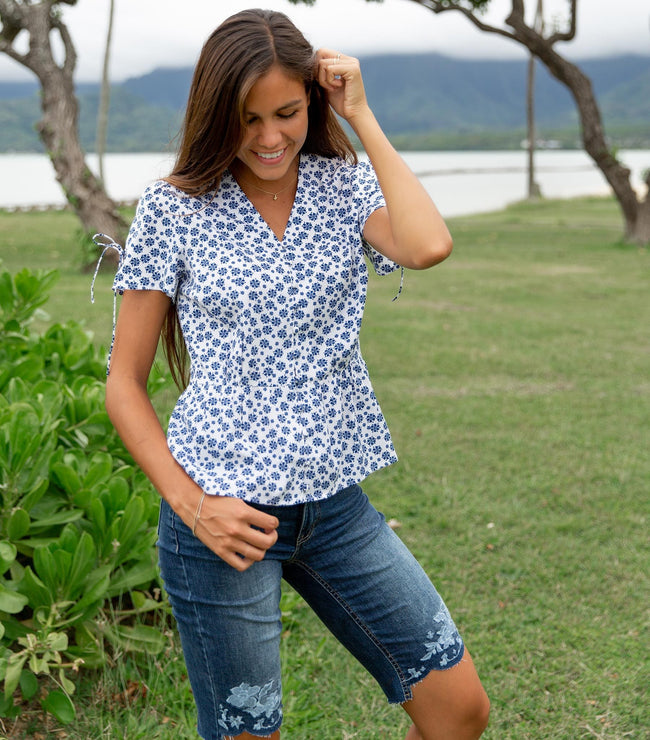 Split Short Sleeve Button Down Peplum Top