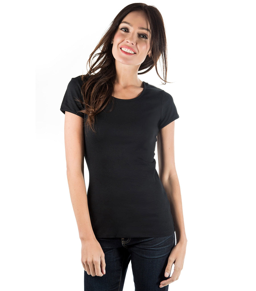 Fitted Scoop Neck Layering Tee Black