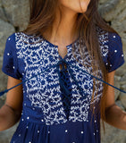 Dotted Embroidery Dress with Navy Tassels