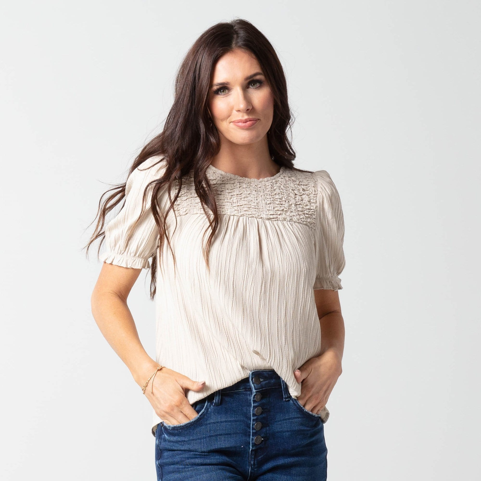 Smocked Yoke Top