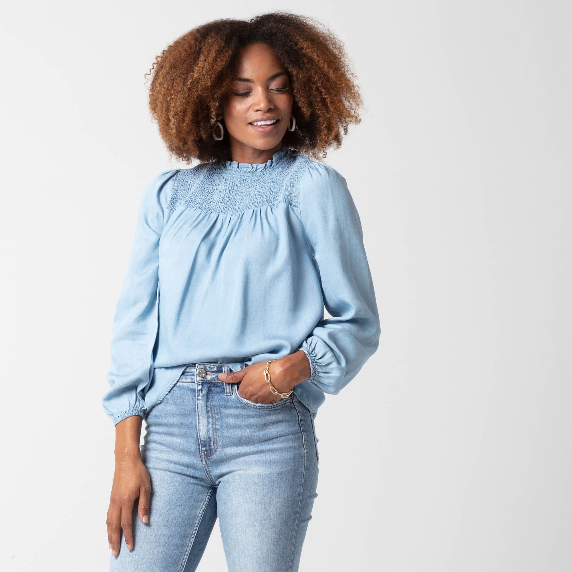Chambray Smocked Top