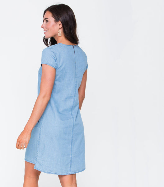 Short Sleeve Denim Dress with Round Pockets