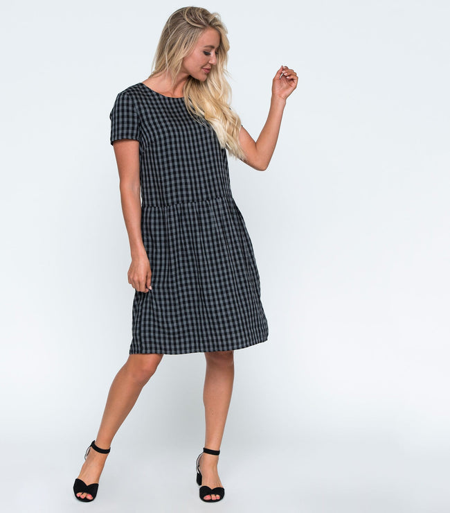 Short Sleeve Drop Waist Checked Dress with Pockets