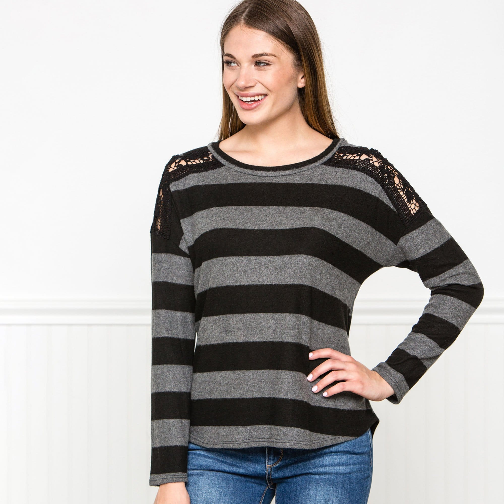 Stripe & Lace Sweater