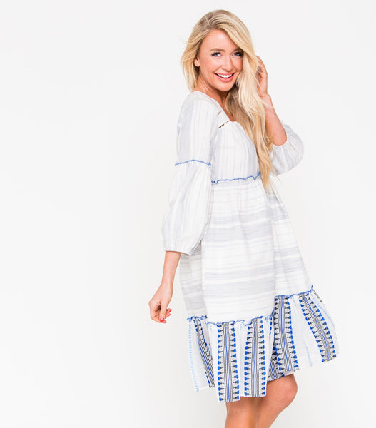 Stripe Dress with Contrast Hem