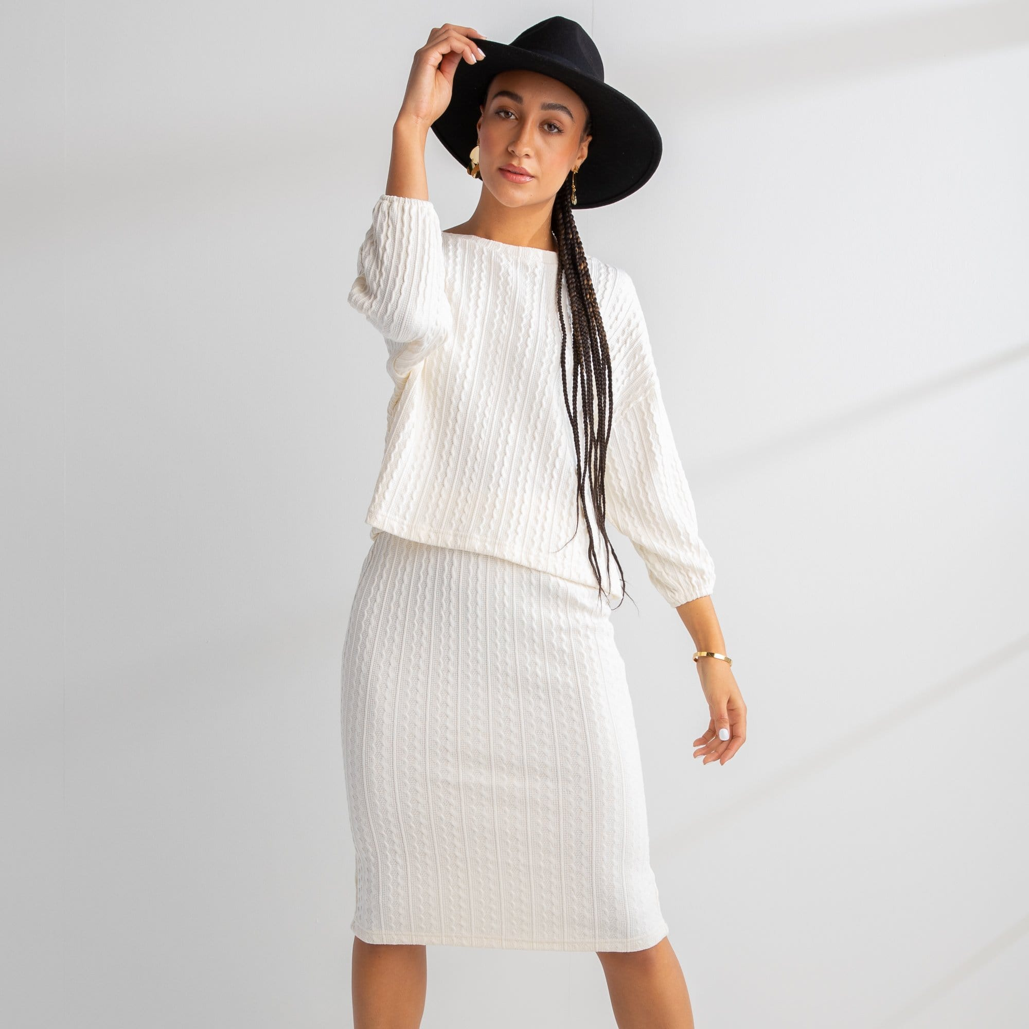 Textured Straight Skirt