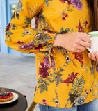 Tie Cuff Long Sleeve Printed Blouse