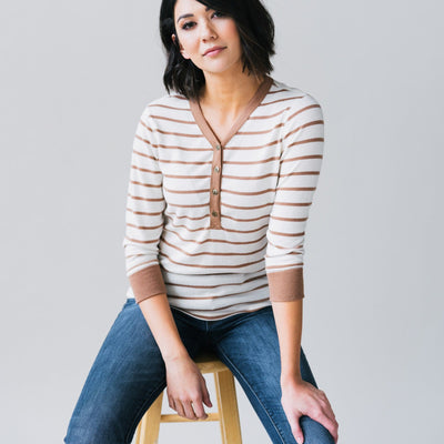 Button Front Henley Top