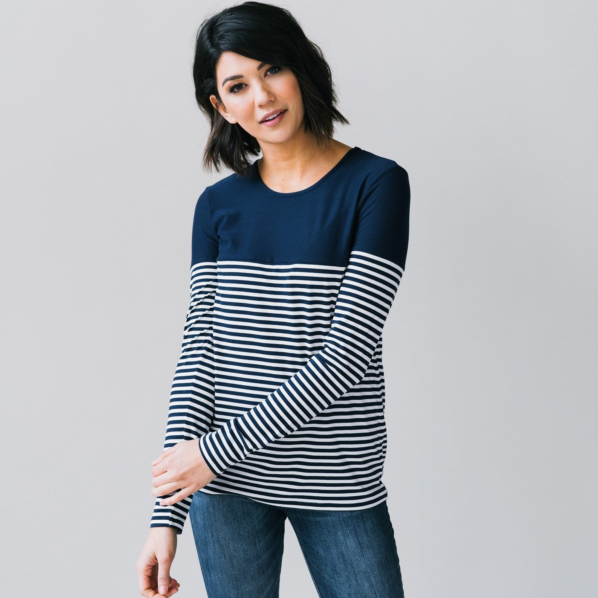 Stripe & Solid Tee