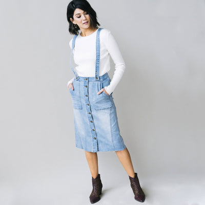 Denim Skirt with Suspenders