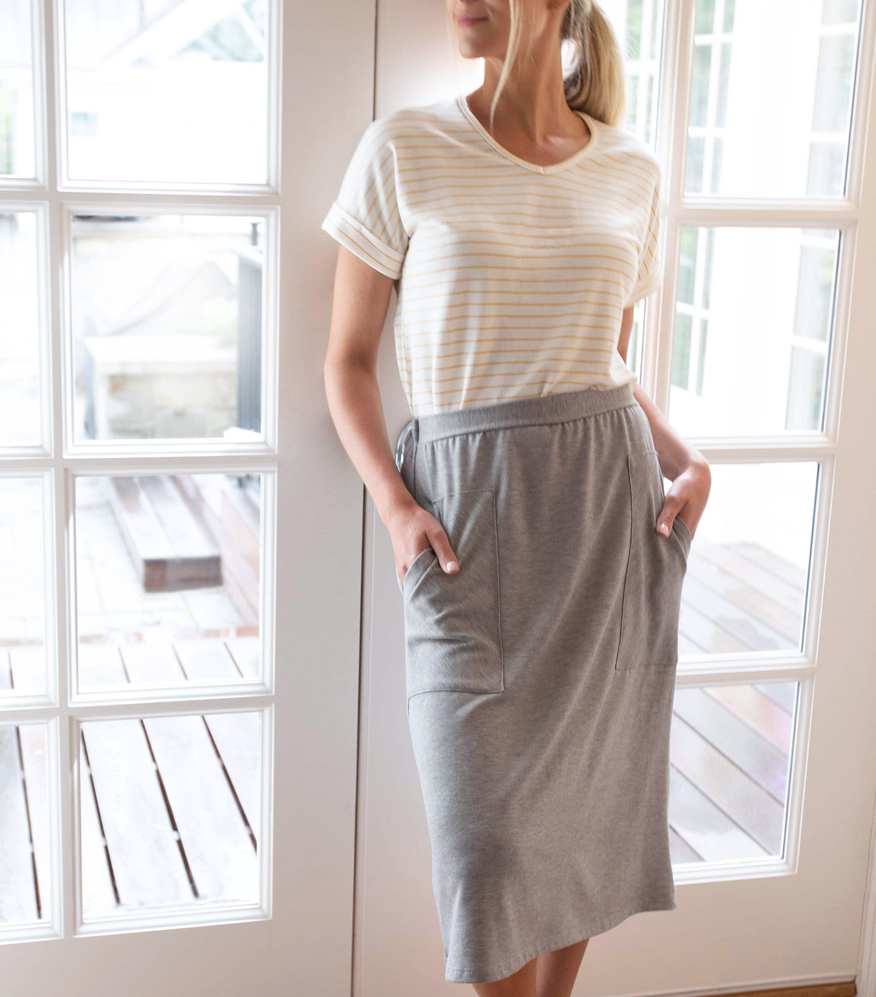 Patch Pocket Knit Skirt