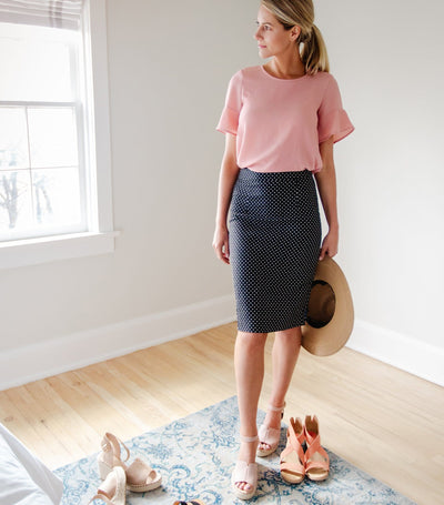 Printed Textured Skirt with Pockets