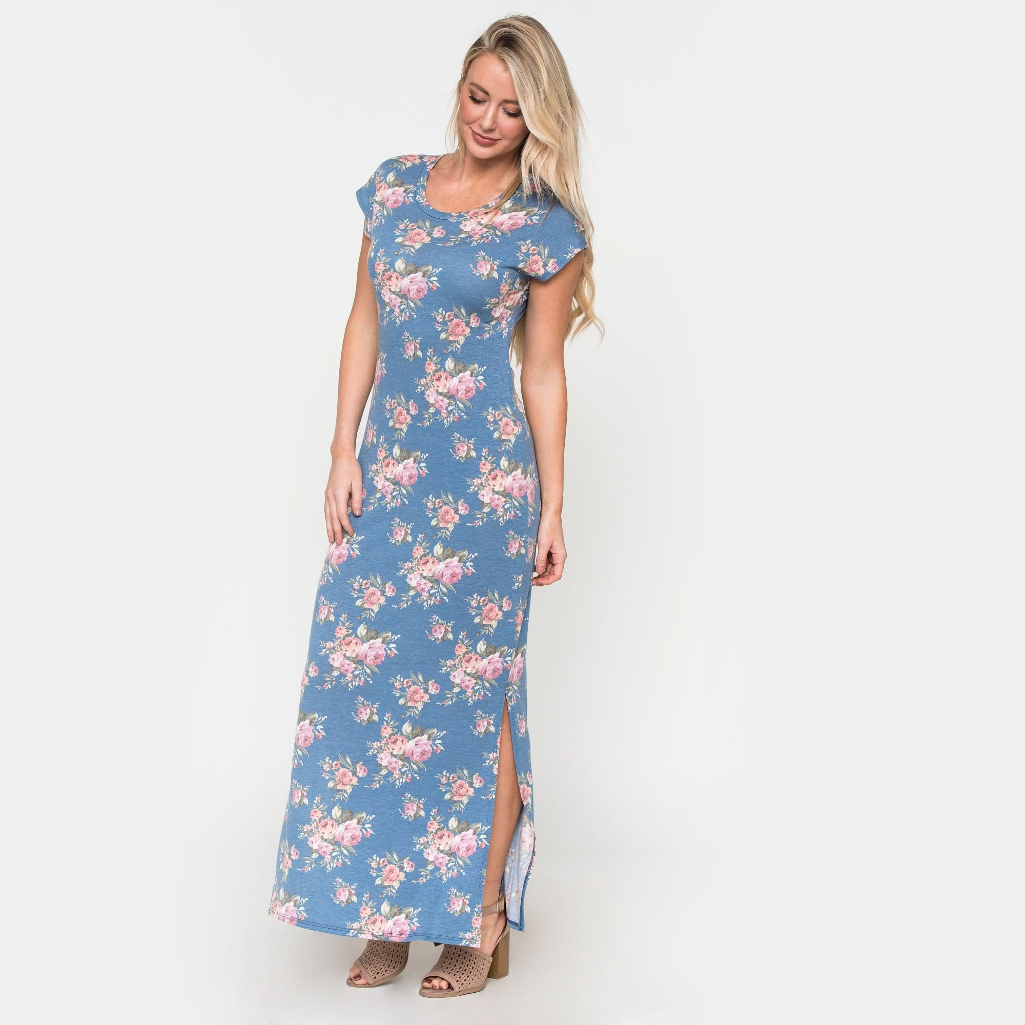 Side Slit Floral Maxi Dress