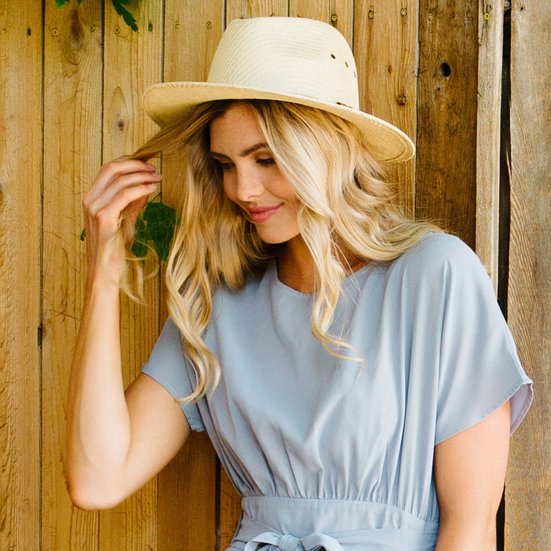 Leather Band Panama Hat