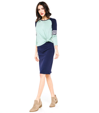Elastic Waist Pencil Skirt