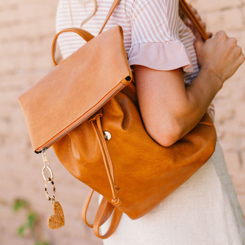 Vegan Leather Drawstring Backpack