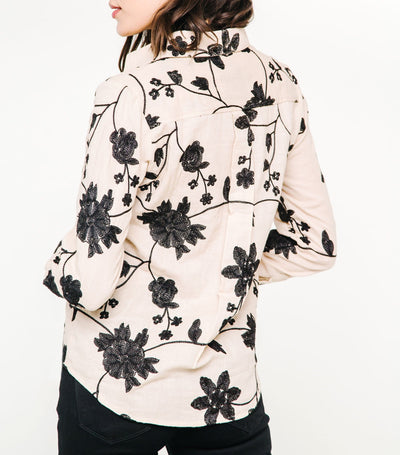 Embroidery Button Front Shirt