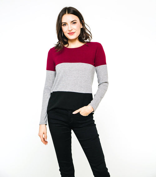 Long Sleeve Blocked Top