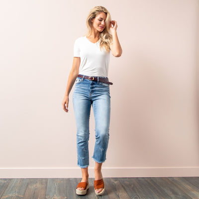 Fringe Hem Jean by Kan Can