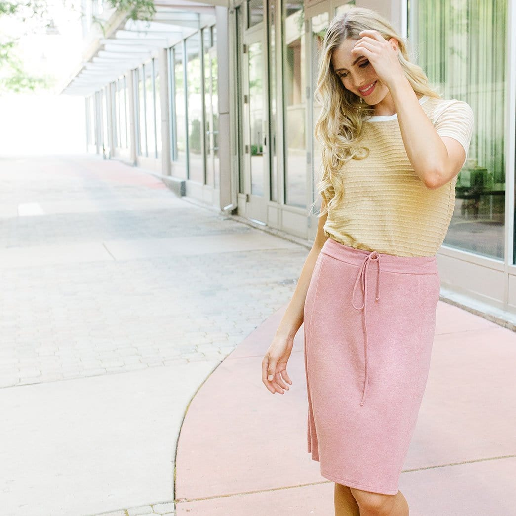 Raw Edge Drawstring Skirt