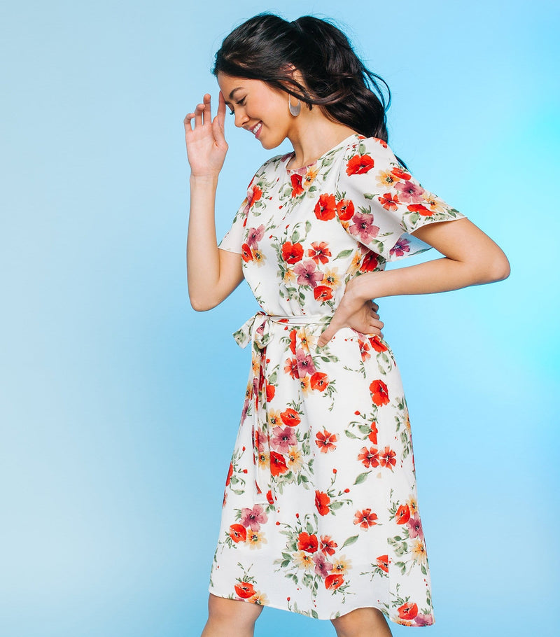Belted Flutter Sleeve Dress