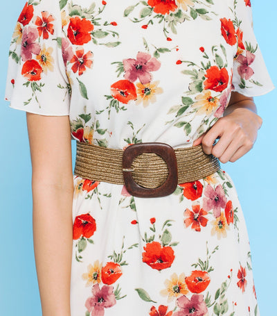 Woven Wood Buckle Belt