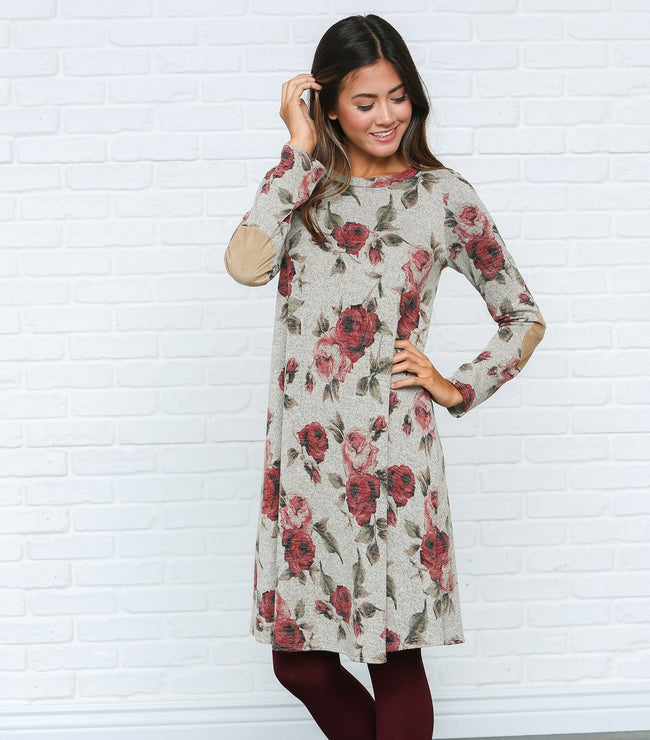Elbow Patch Floral Dress