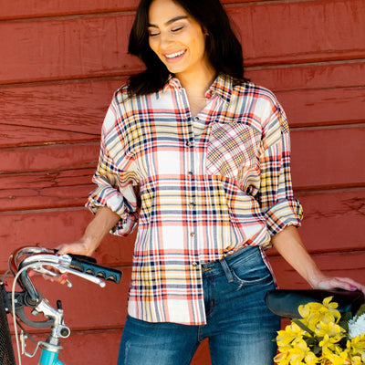 Mixed Plaid Button Front Shirt
