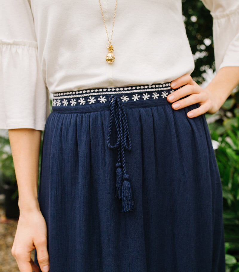 Embroidered Tassel Skirt