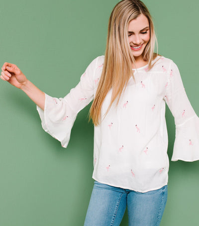Flamingo Embroidered Top