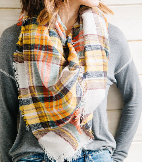 Golden Glow Plaid Blanket Scarf
