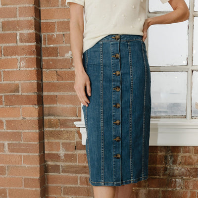 Denim Button Front Skirt