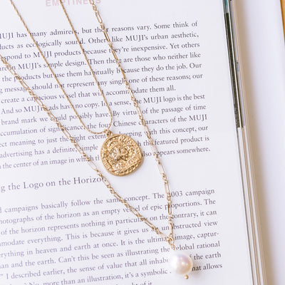 2 Piece Coin & Pearl Necklace