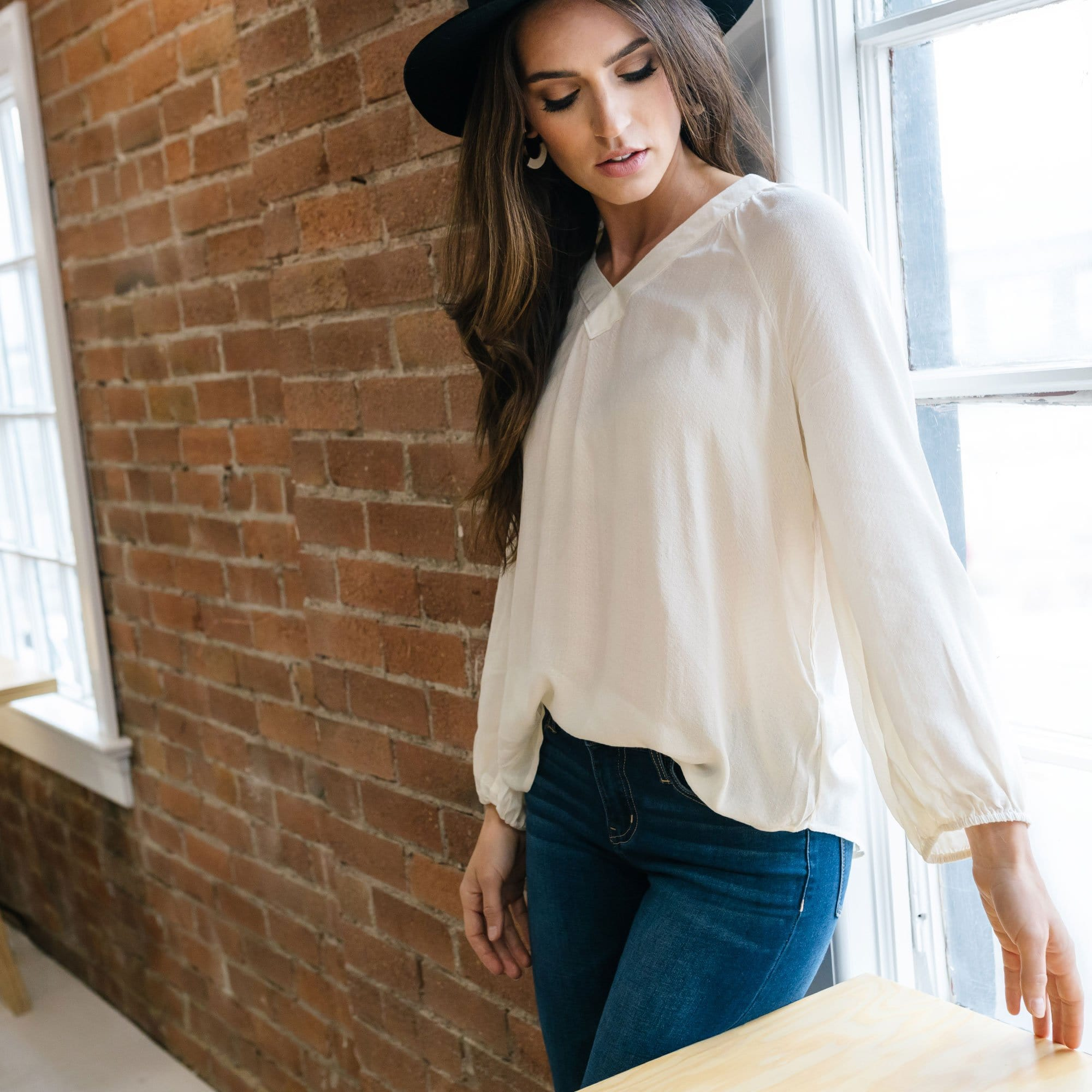 Textured V-Neck Blouse