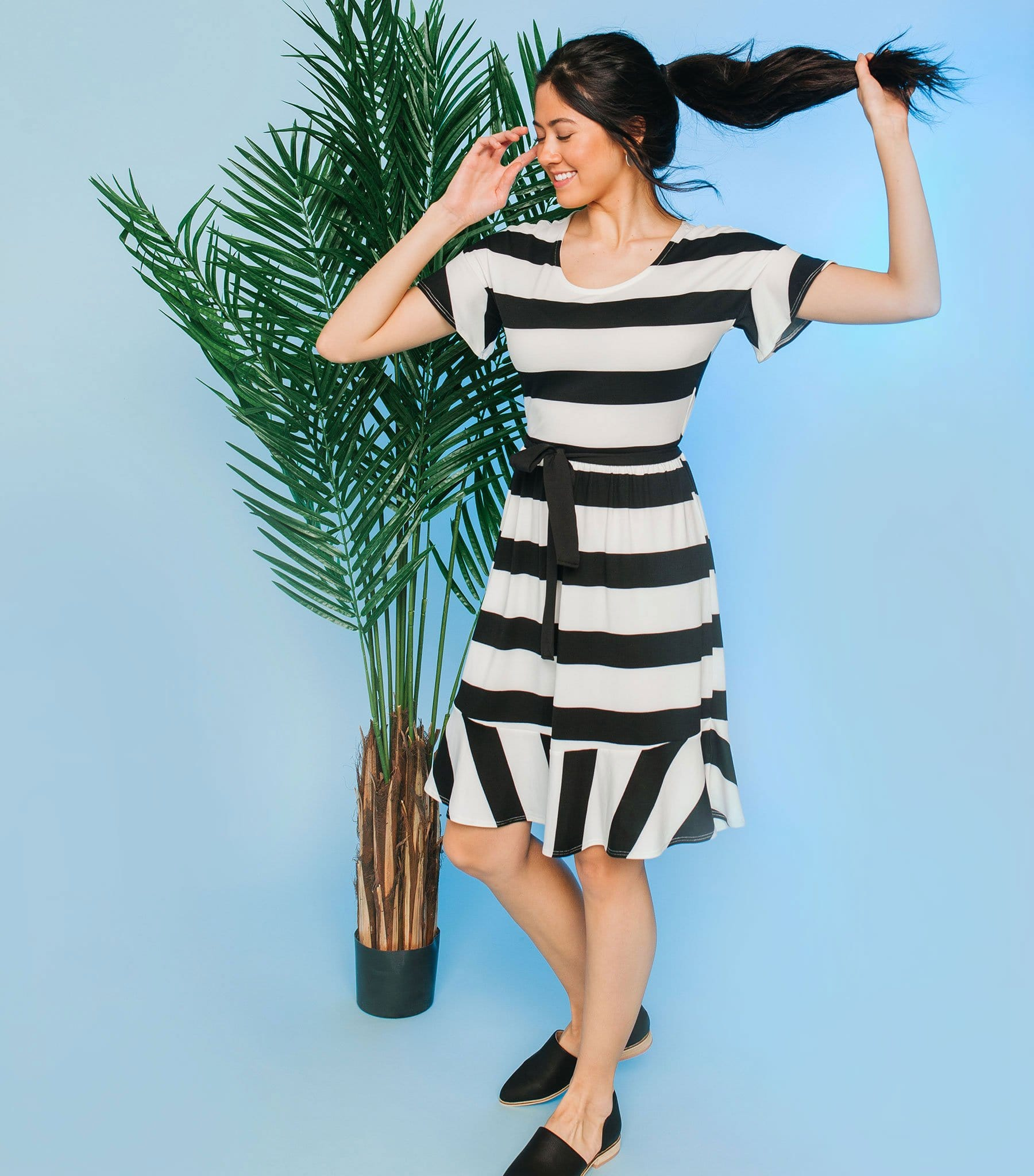 Ruffle Sleeve Stripe Dress