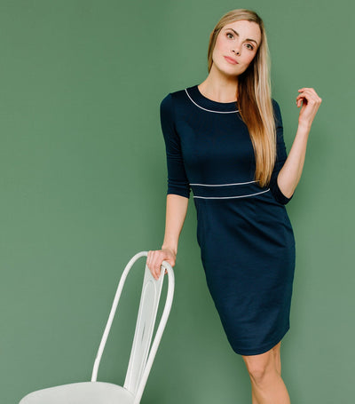 Tipped Contrast Sheath Dress