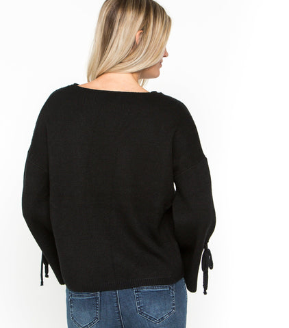 Bell Tie Sleeve Pullover Sweater - Black