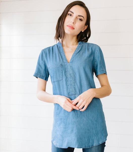 Chest Pocket Chambray Top