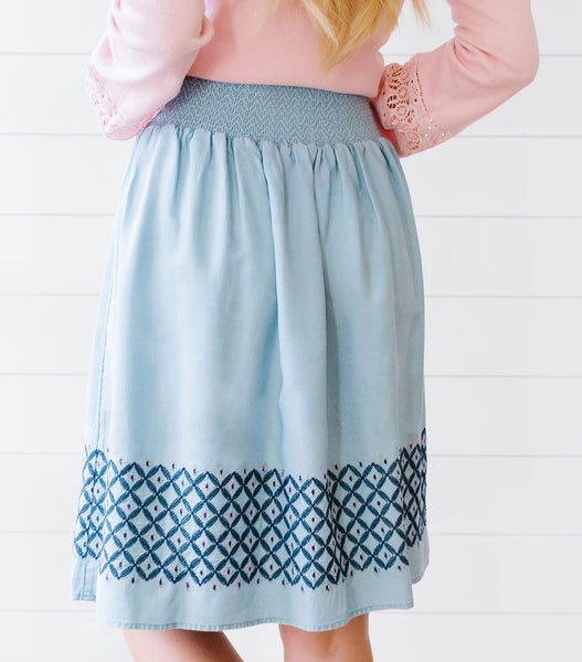 Embroidered Skirt with Tassels