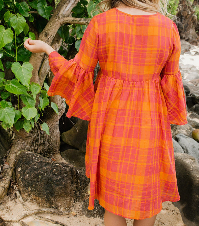 Flare Sleeve Button Down Plaid Voile Dress