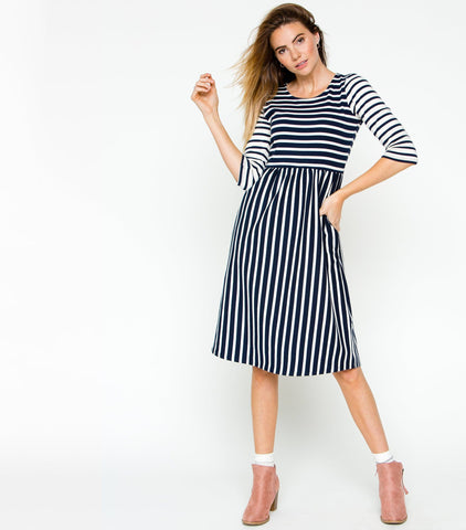 Mixed Stripe Babydoll Dress with Pockets - Navy & Ivory