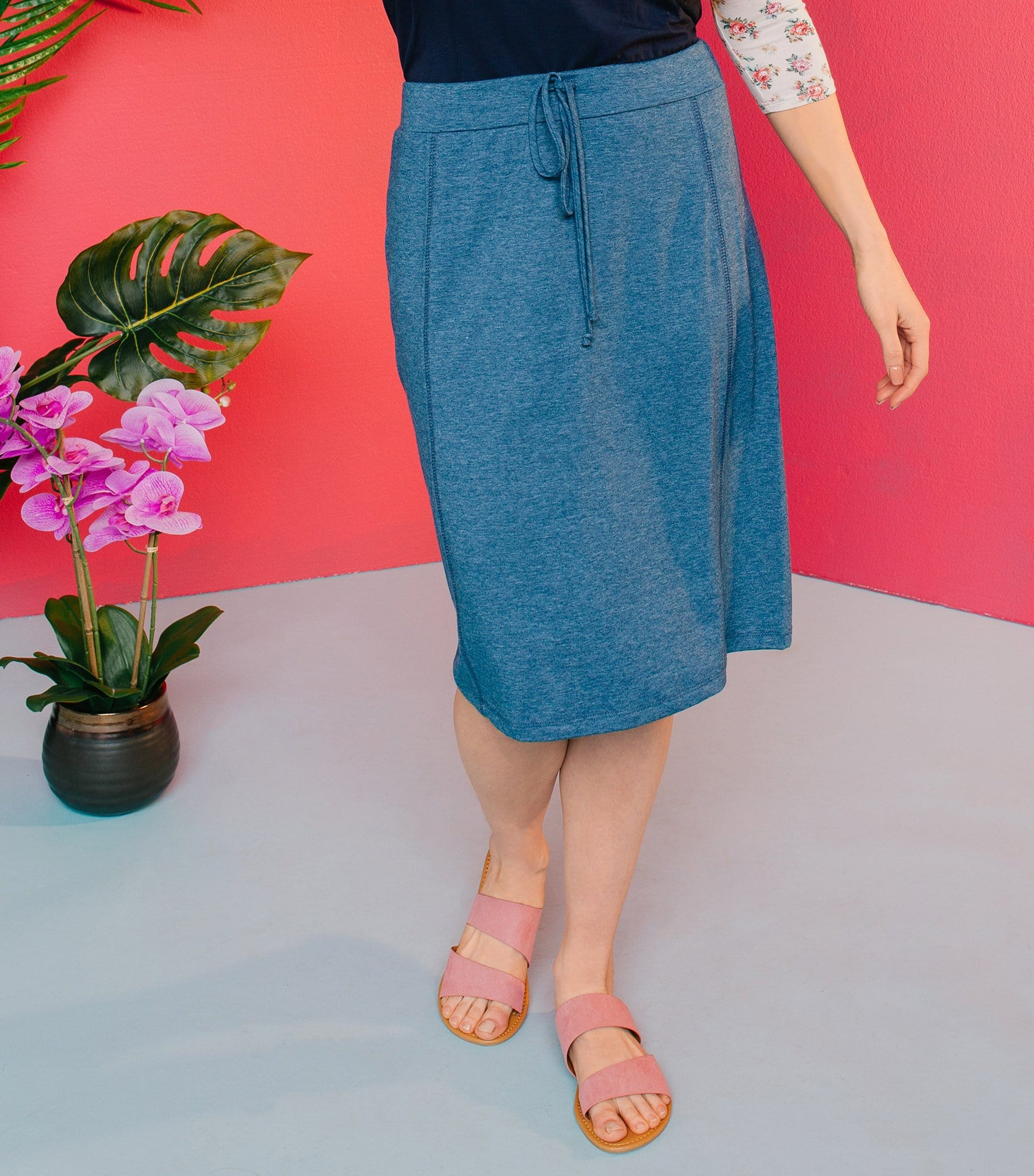 French Terry Skirt with Drawstrings