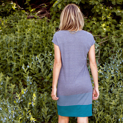 Ribbed Stripe Shift Dress