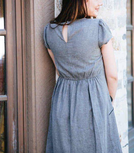 Cap Sleeve Piped Dress with Pockets