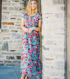 Short Sleeve Lace-Up Fit n Flare Maxi Dress