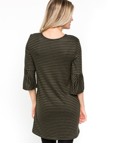3/4 Sleeve Striped Shift Dress